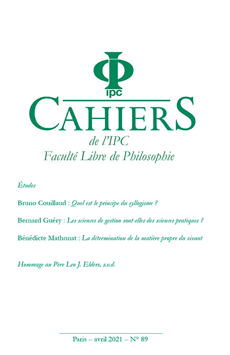 Couverture Cahiers IPC 89